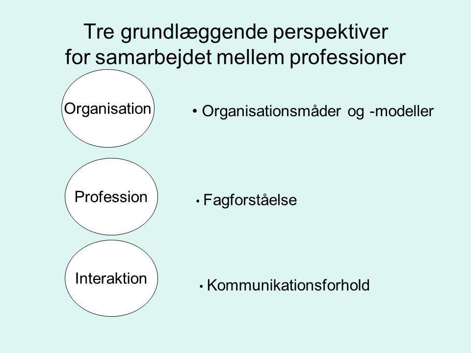 Tre grundlæggende perspektiver for samarbejdet mellem professioner