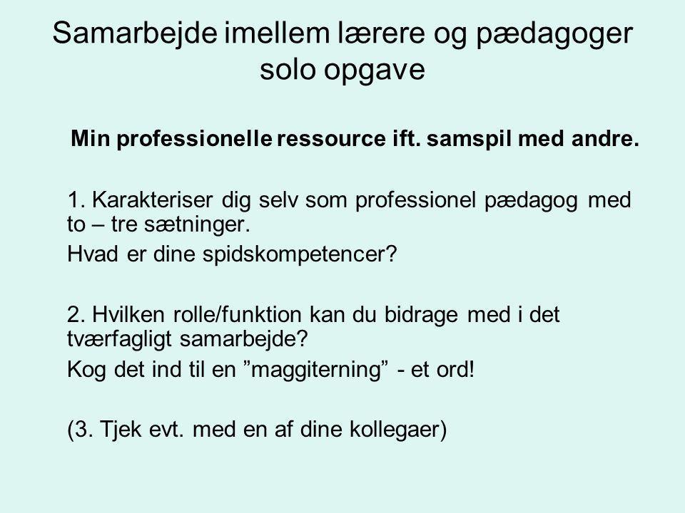 Samarbejde imellem lærere og pædagoger solo opgave