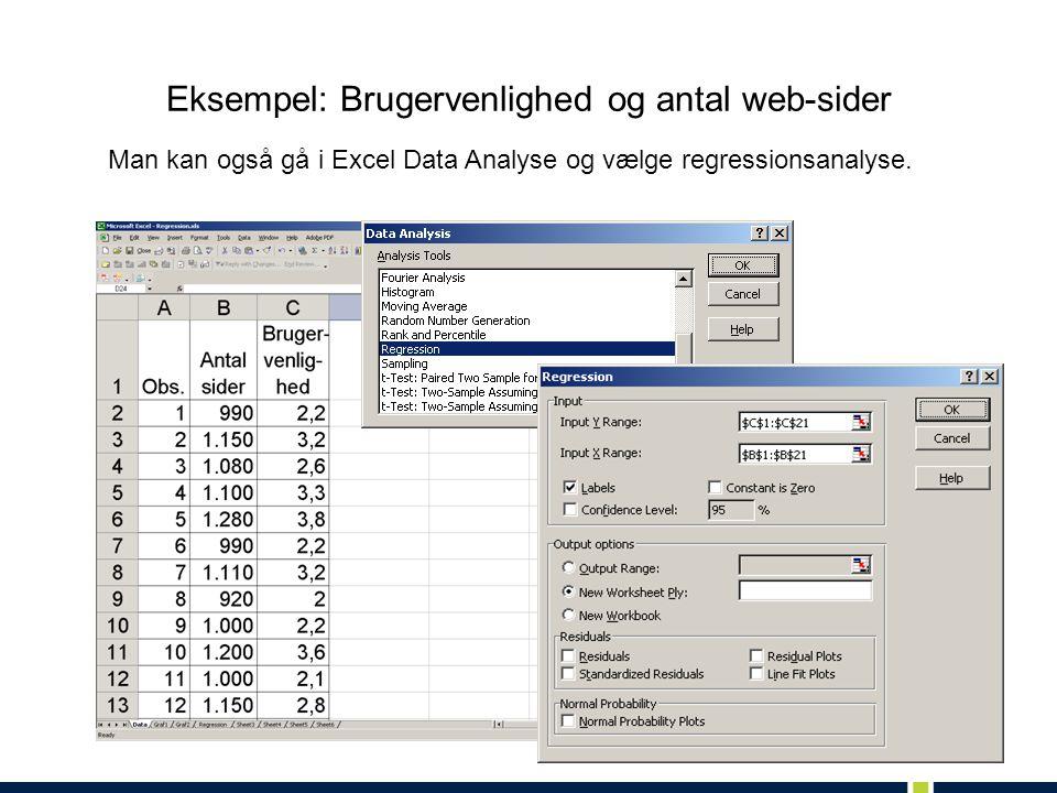 Eksempel: Brugervenlighed og antal web-sider