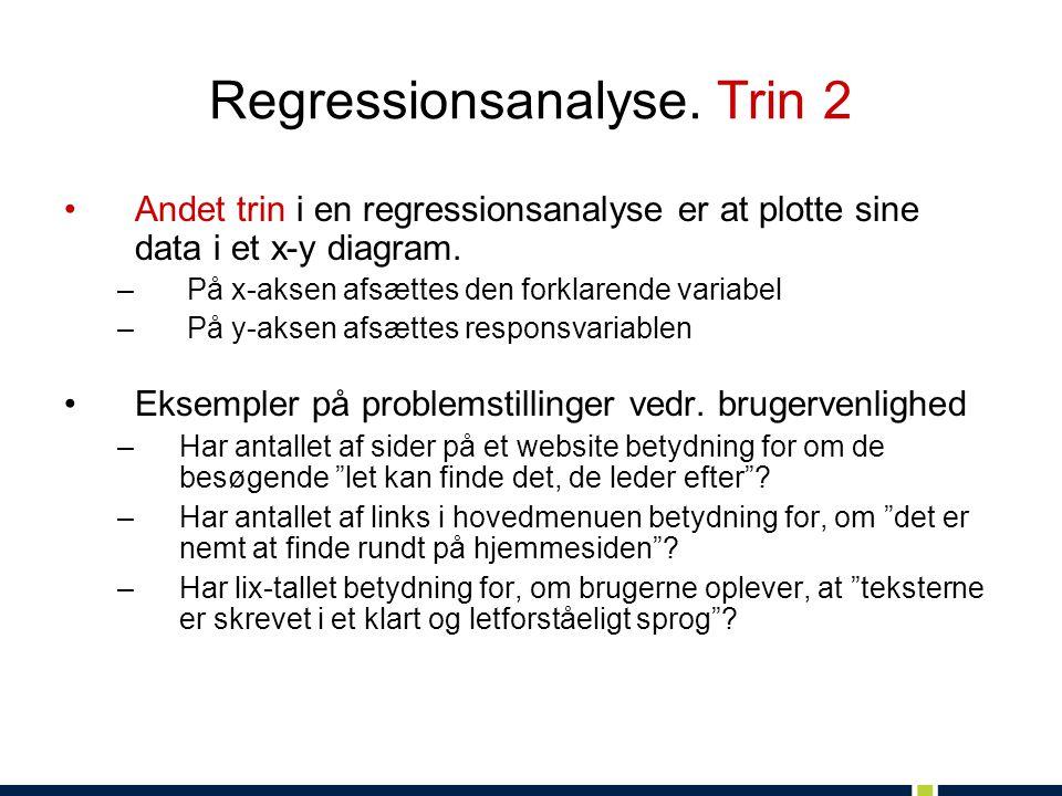 Regressionsanalyse. Trin 2