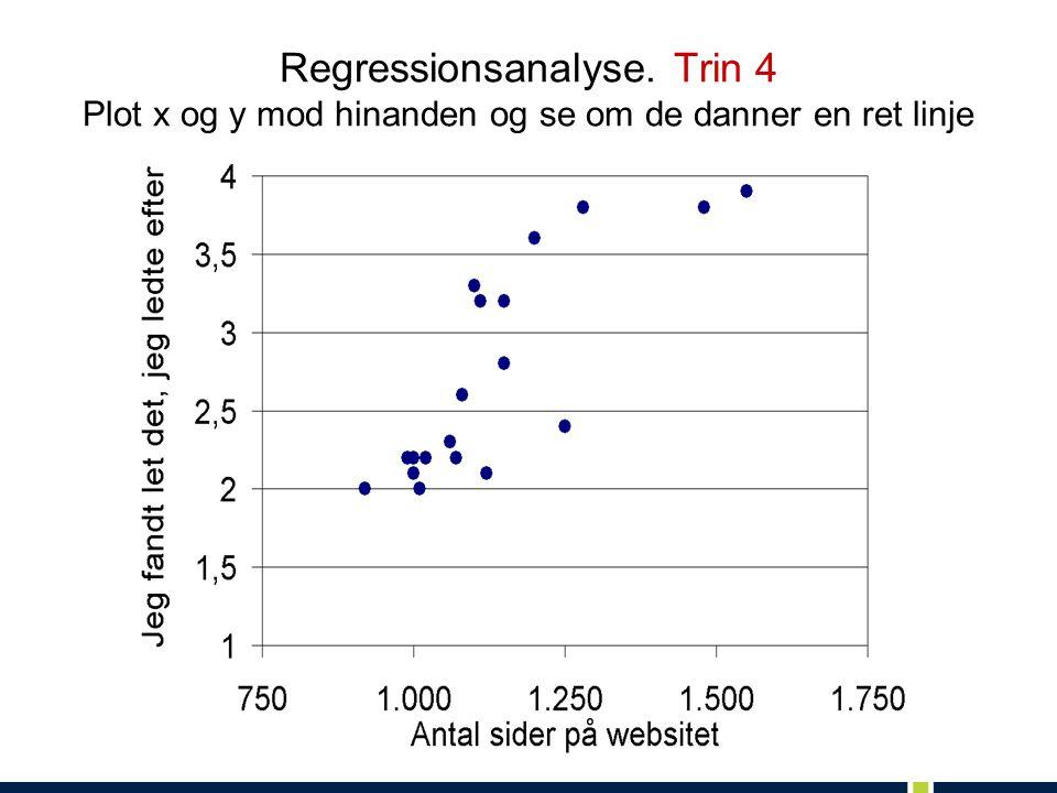 Regressionsanalyse. Trin 4 Plot x og y mod hinanden og se om de danner en ret linje