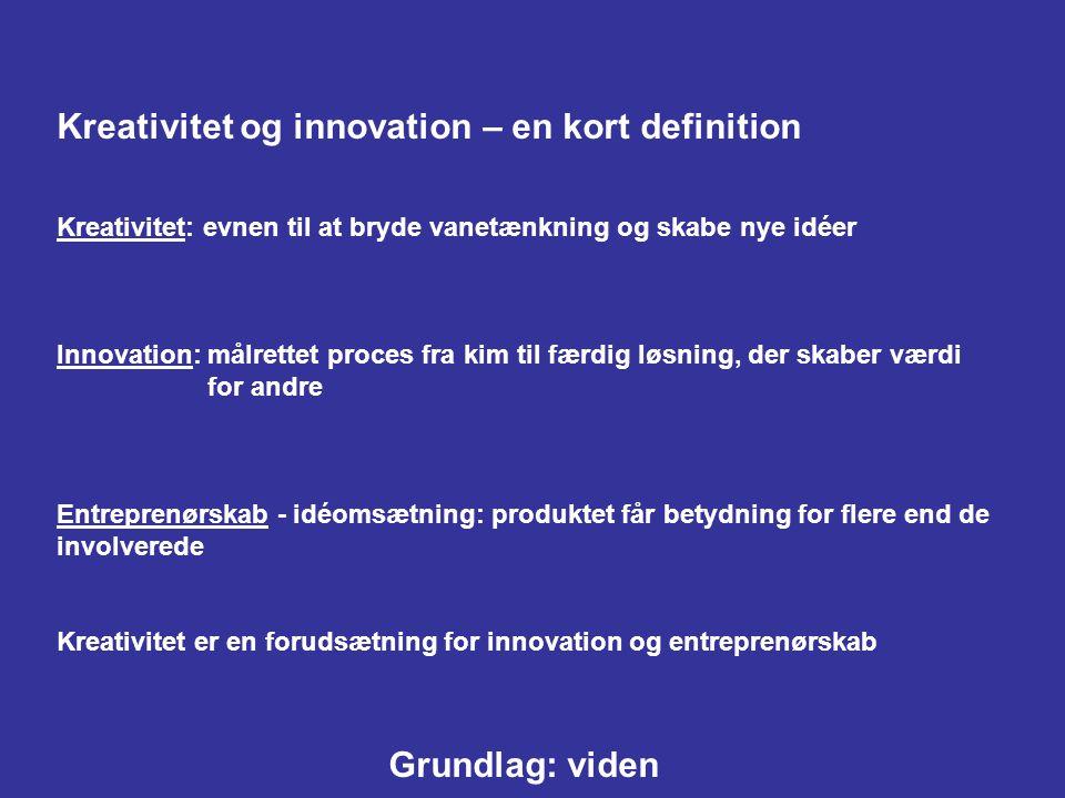 Kreativitet og innovation – en kort definition