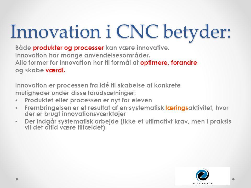Innovation i CNC betyder: