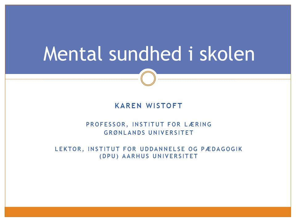 Mental sundhed i skolen
