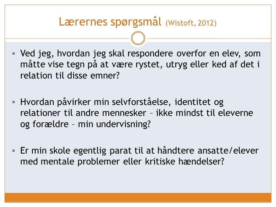 Lærernes spørgsmål (Wistoft, 2012)