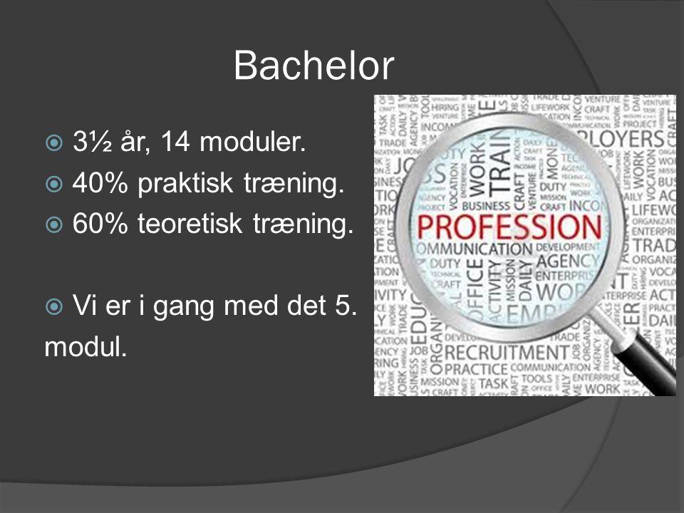 Bachelor 3½ år, 14 moduler. 40% praktisk træning.