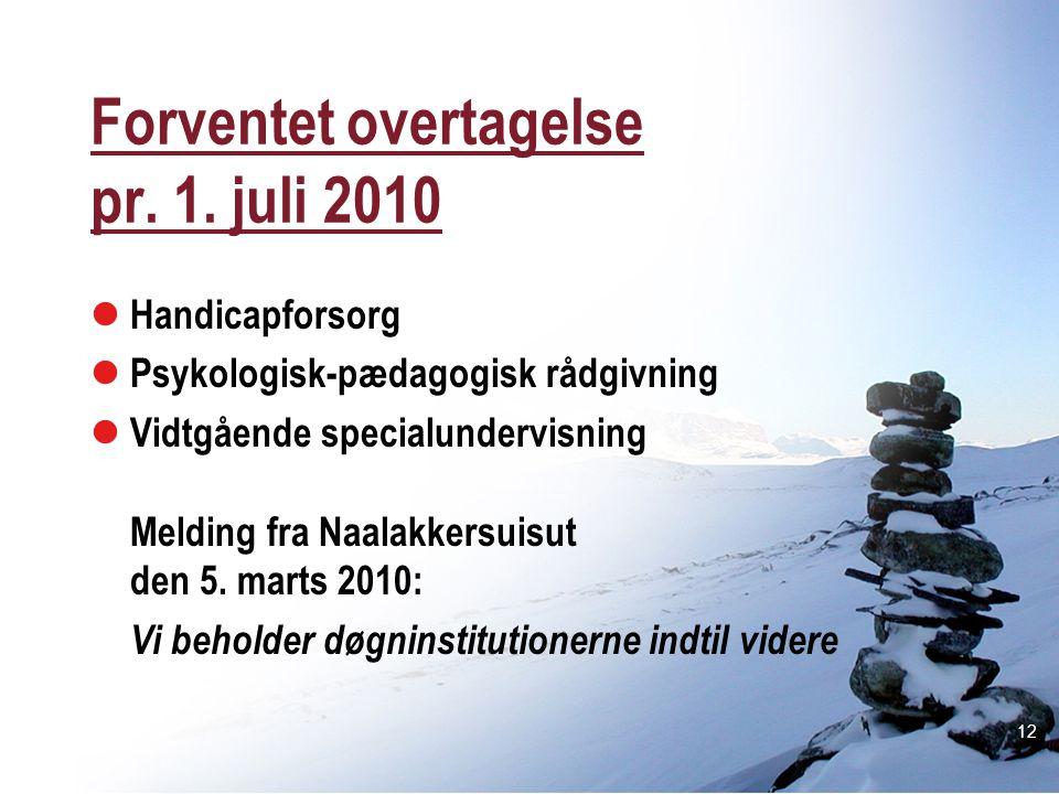 Forventet overtagelse pr. 1. juli 2010