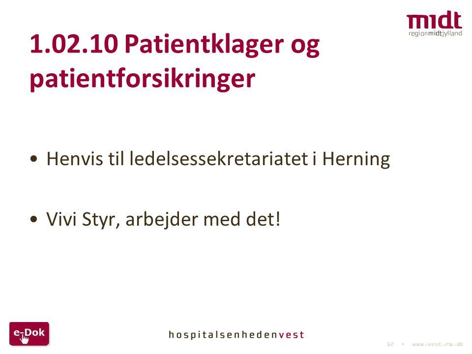 1.02.10 Patientklager og patientforsikringer