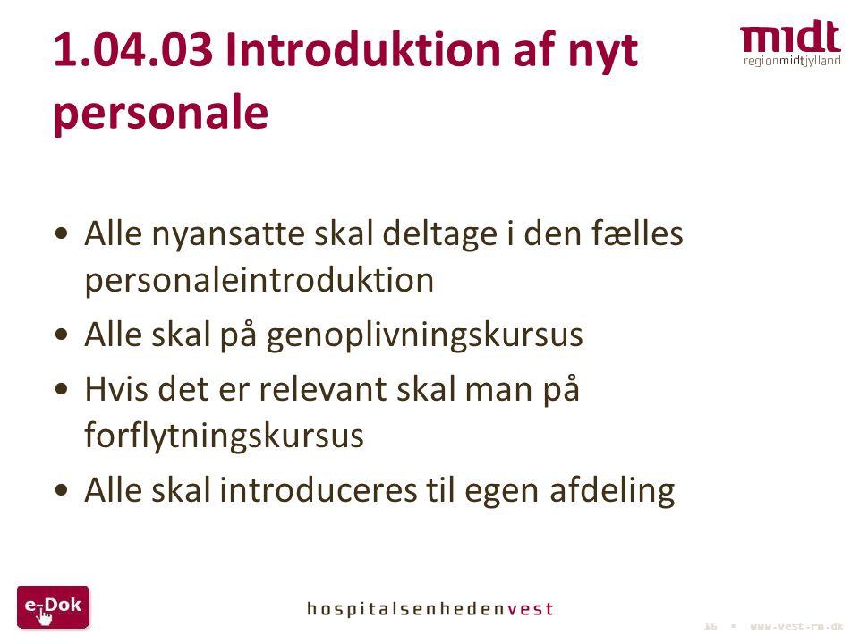 1.04.03 Introduktion af nyt personale