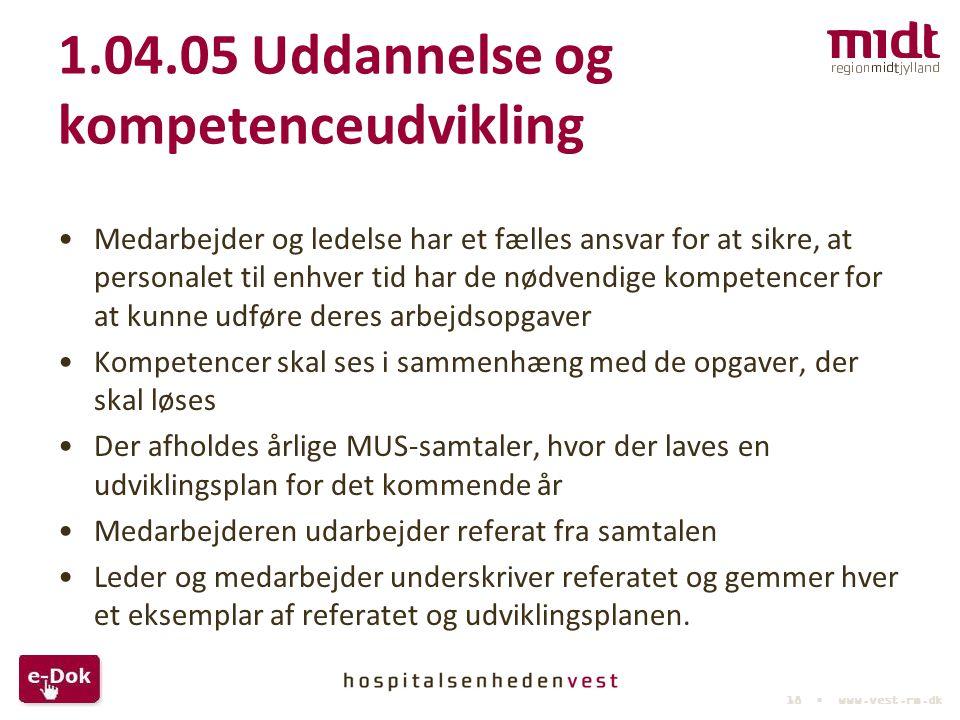 1.04.05 Uddannelse og kompetenceudvikling