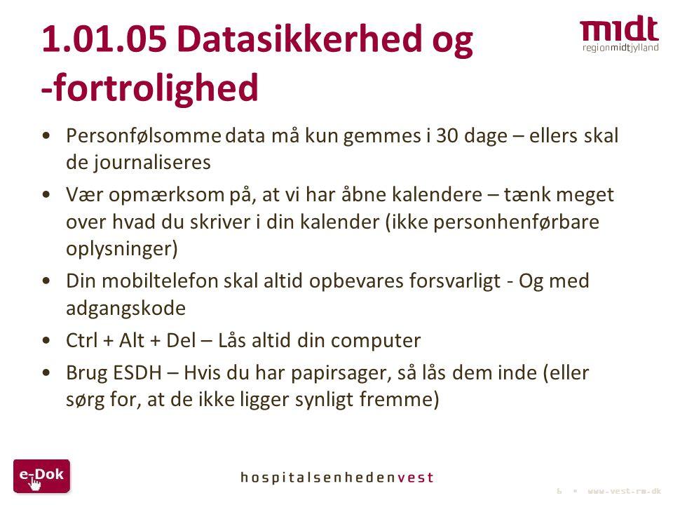 1.01.05 Datasikkerhed og -fortrolighed