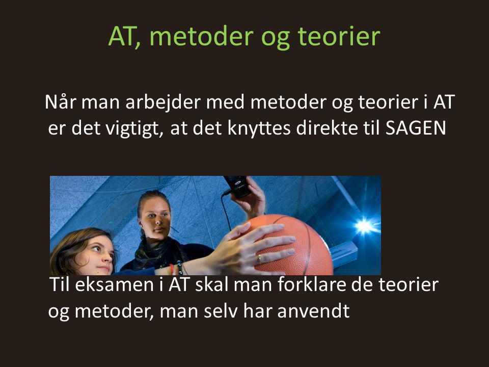 AT, metoder og teorier Når man arbejder med metoder og teorier i AT er det vigtigt, at det knyttes direkte til SAGEN.