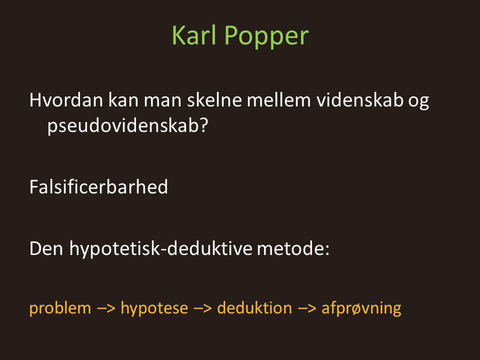 Karl Popper Hvordan kan man skelne mellem videnskab og pseudovidenskab Falsificerbarhed. Den hypotetisk-deduktive metode: