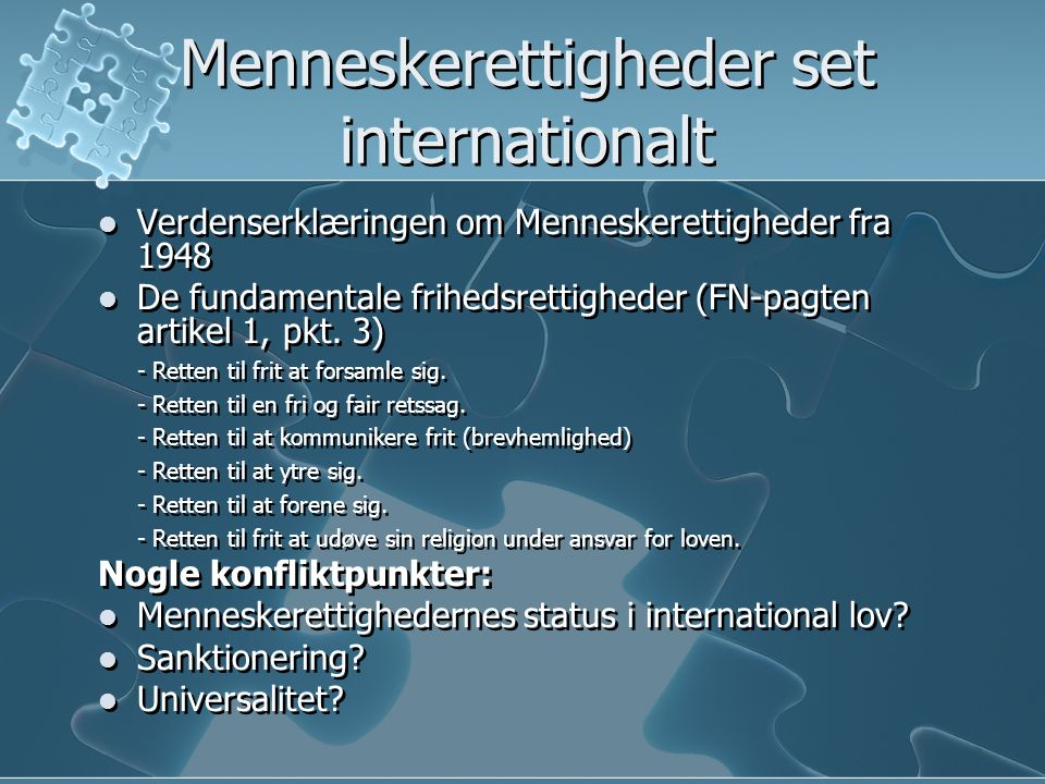 Menneskerettigheder set internationalt