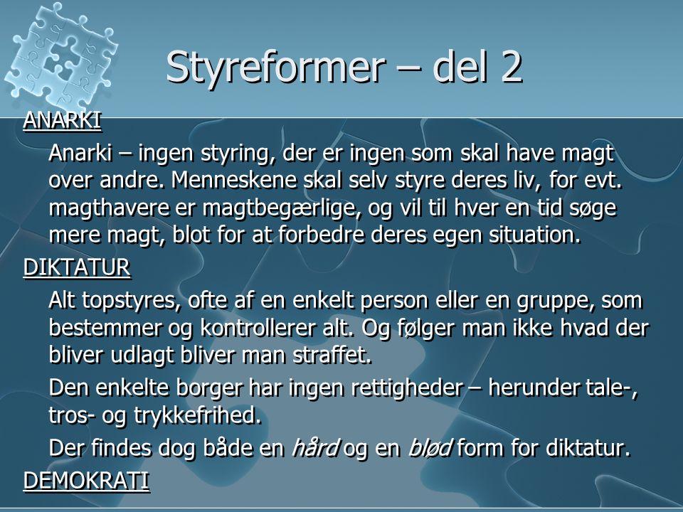 Styreformer – del 2 ANARKI