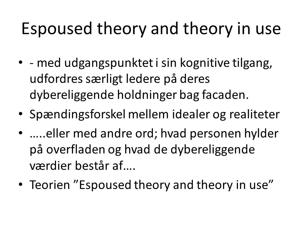 Espoused theory and theory in use