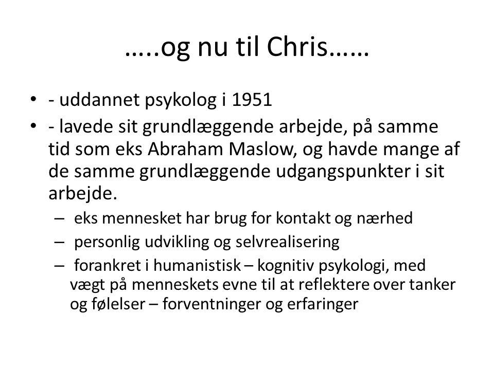 …..og nu til Chris…… - uddannet psykolog i 1951
