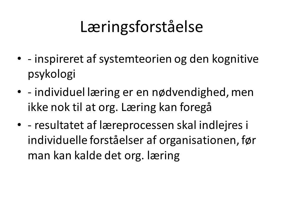 Læringsforståelse - inspireret af systemteorien og den kognitive psykologi.