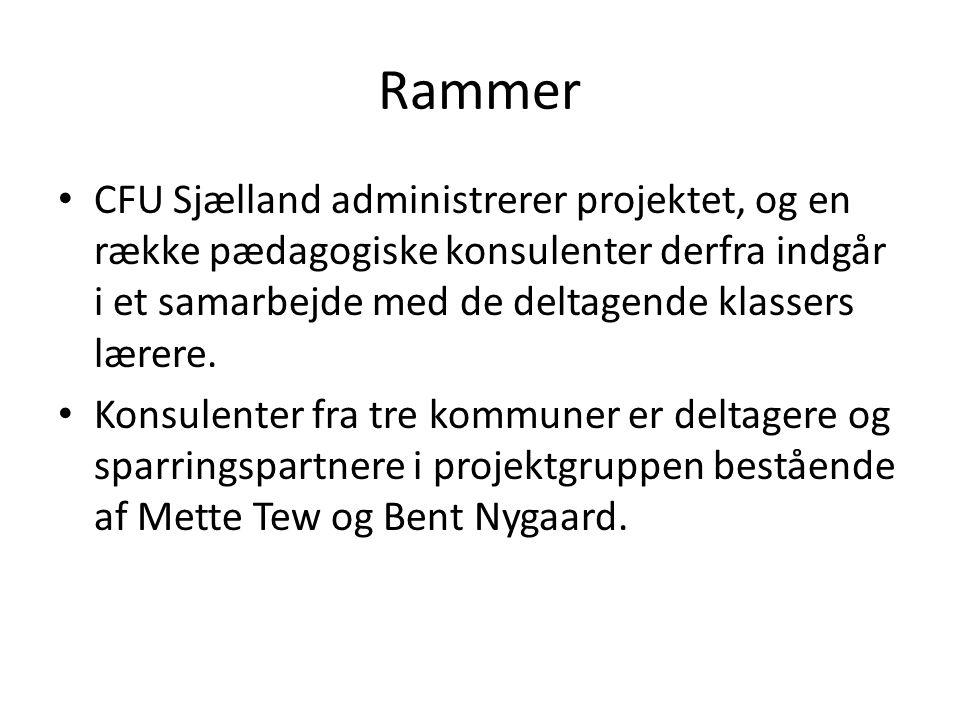 Rammer CFU Sjælland administrerer projektet, og en række pædagogiske konsulenter derfra indgår i et samarbejde med de deltagende klassers lærere.