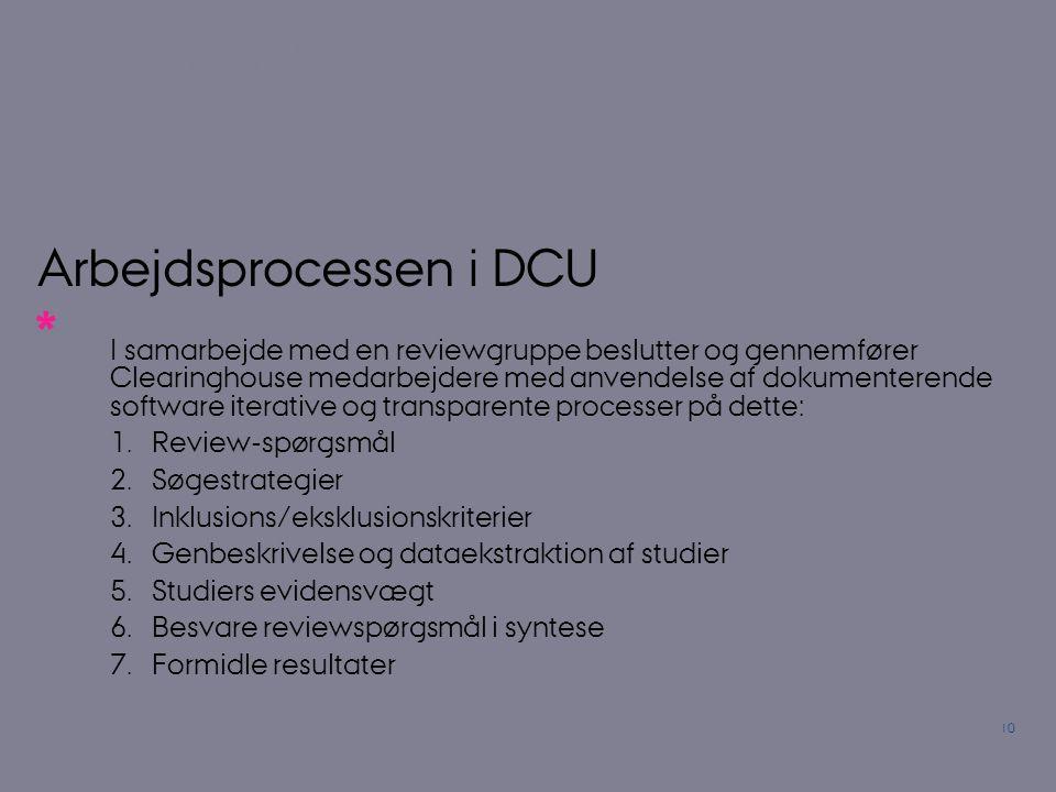 Arbejdsprocessen i DCU