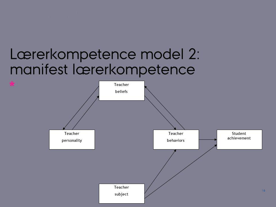 Lærerkompetence model 2: manifest lærerkompetence