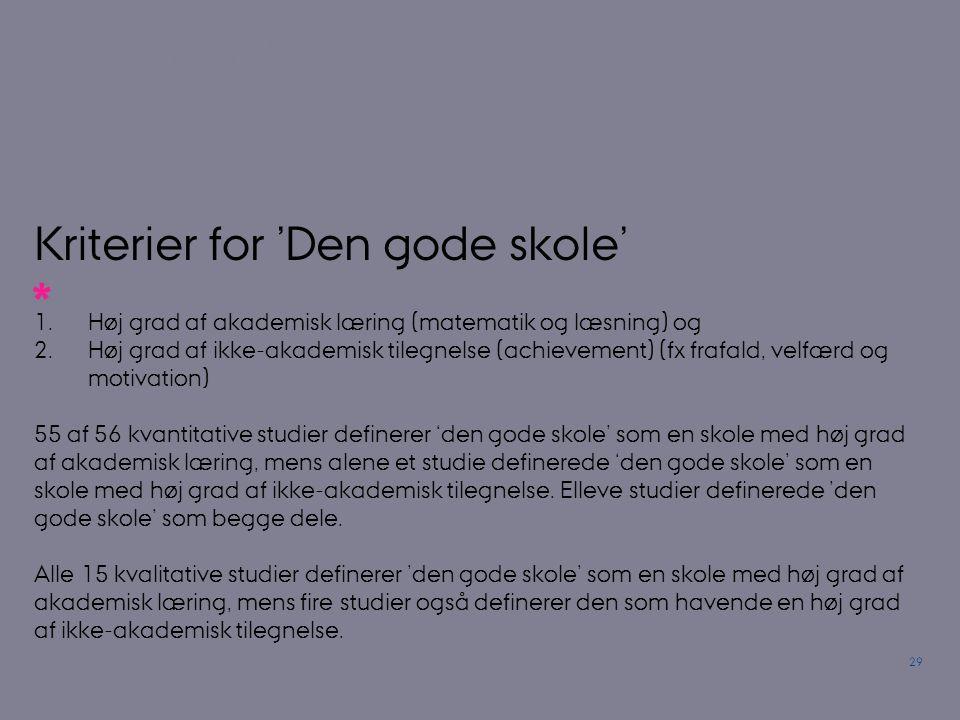 Kriterier for 'Den gode skole'