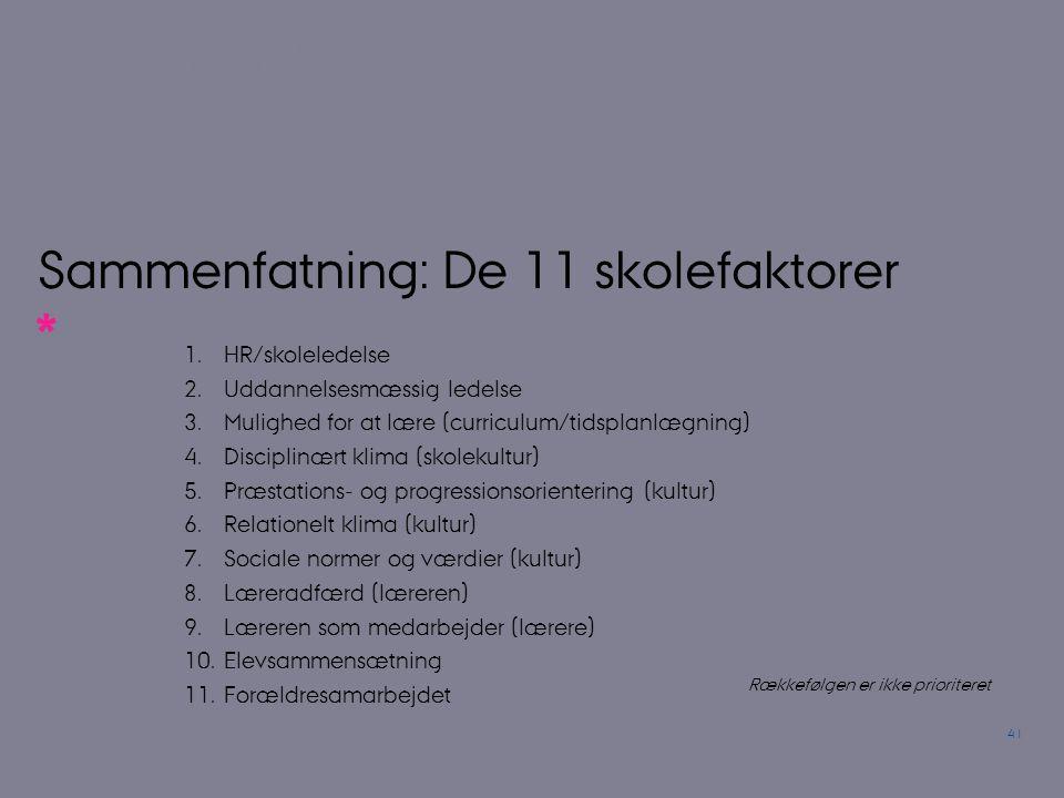 Sammenfatning: De 11 skolefaktorer