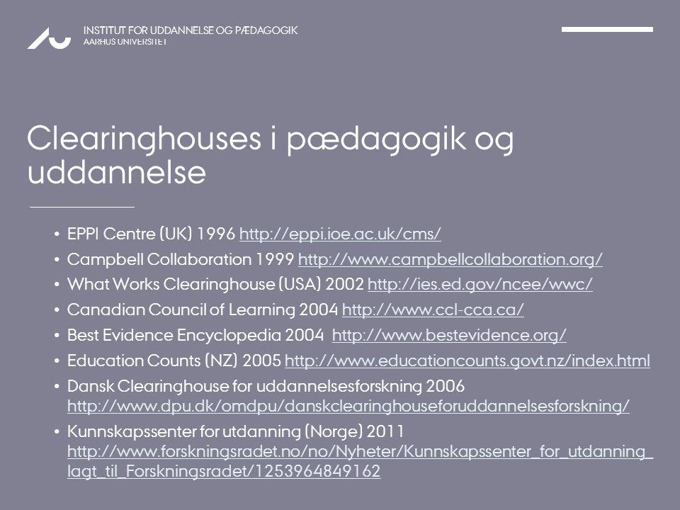 Clearinghouses i pædagogik og uddannelse
