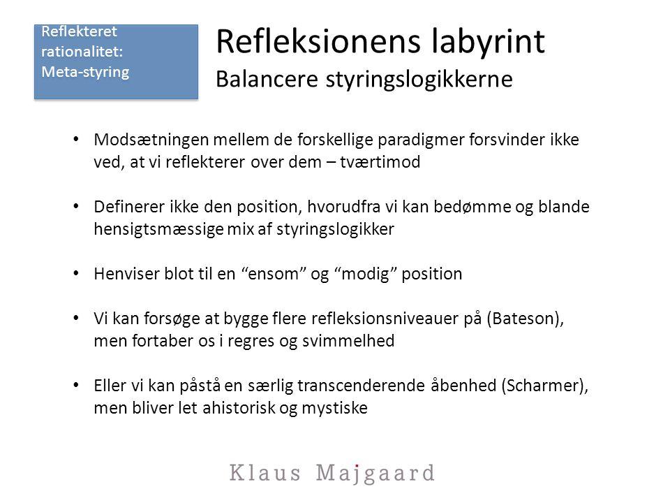 Refleksionens labyrint Balancere styringslogikkerne