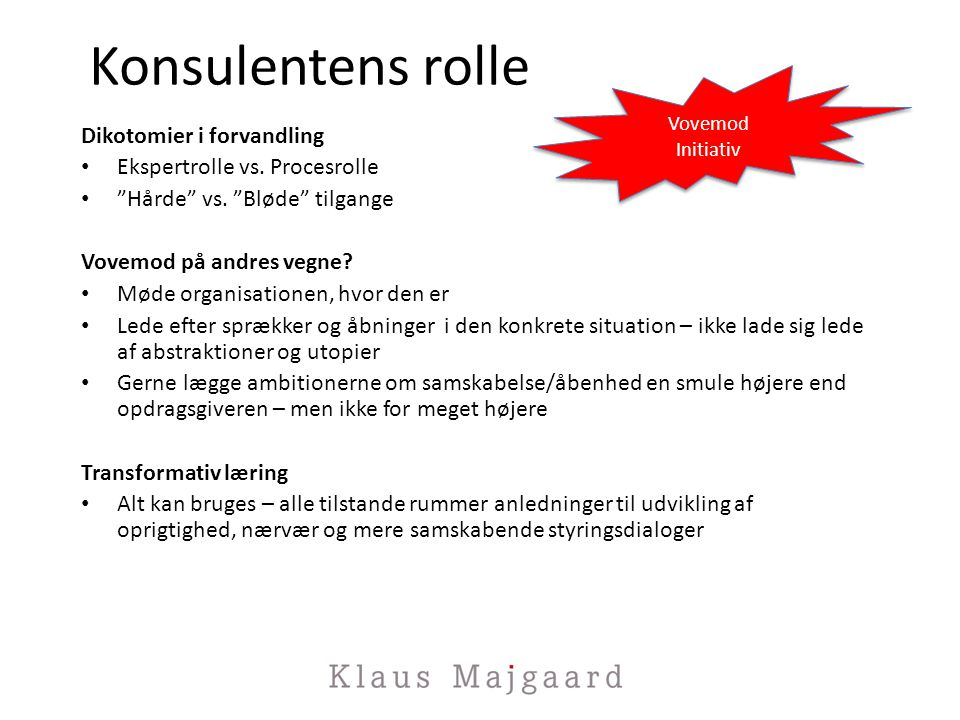 Konsulentens rolle Dikotomier i forvandling