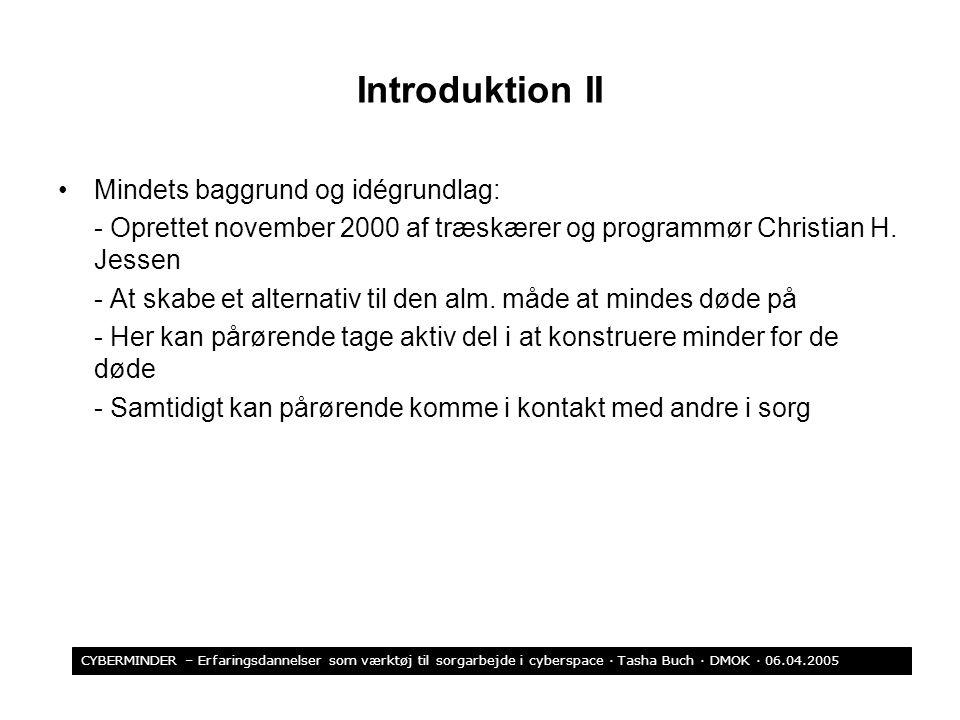 Introduktion II Mindets baggrund og idégrundlag: