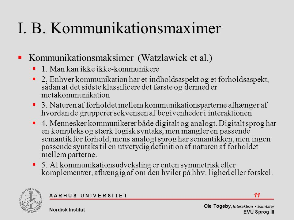 I. B. Kommunikationsmaximer