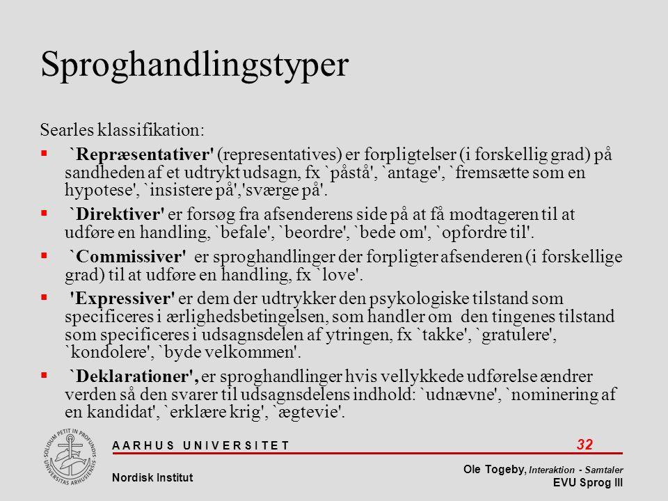 Sproghandlingstyper Searles klassifikation: