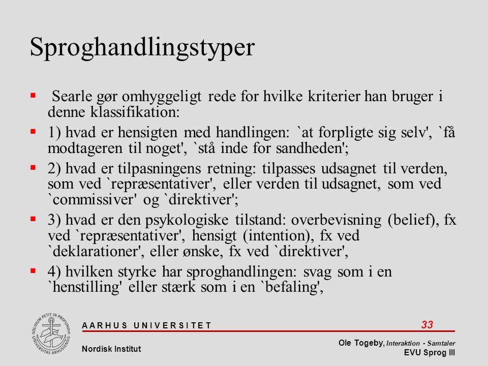 Sproghandlingstyper Searle gør omhyggeligt rede for hvilke kriterier han bruger i denne klassifikation: