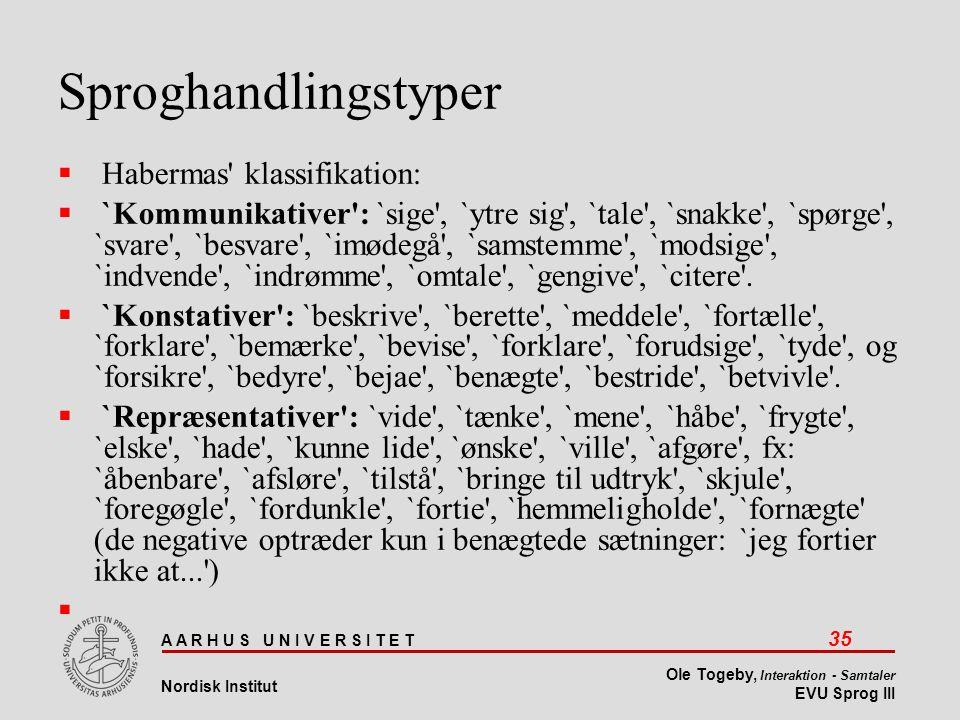 Sproghandlingstyper Habermas klassifikation: