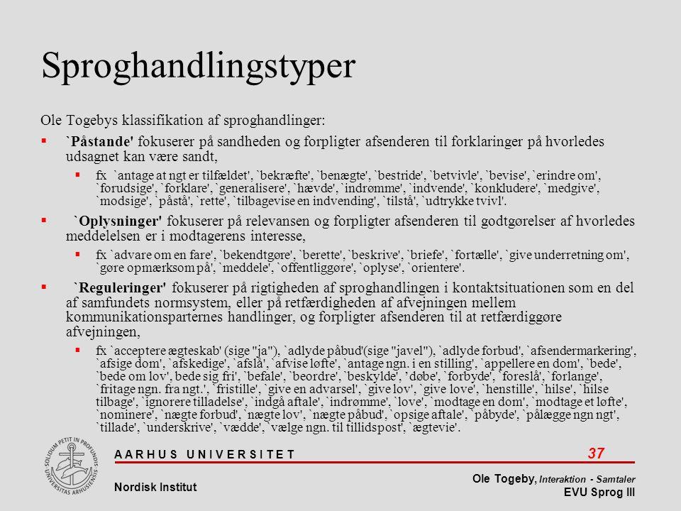 Sproghandlingstyper Ole Togebys klassifikation af sproghandlinger: