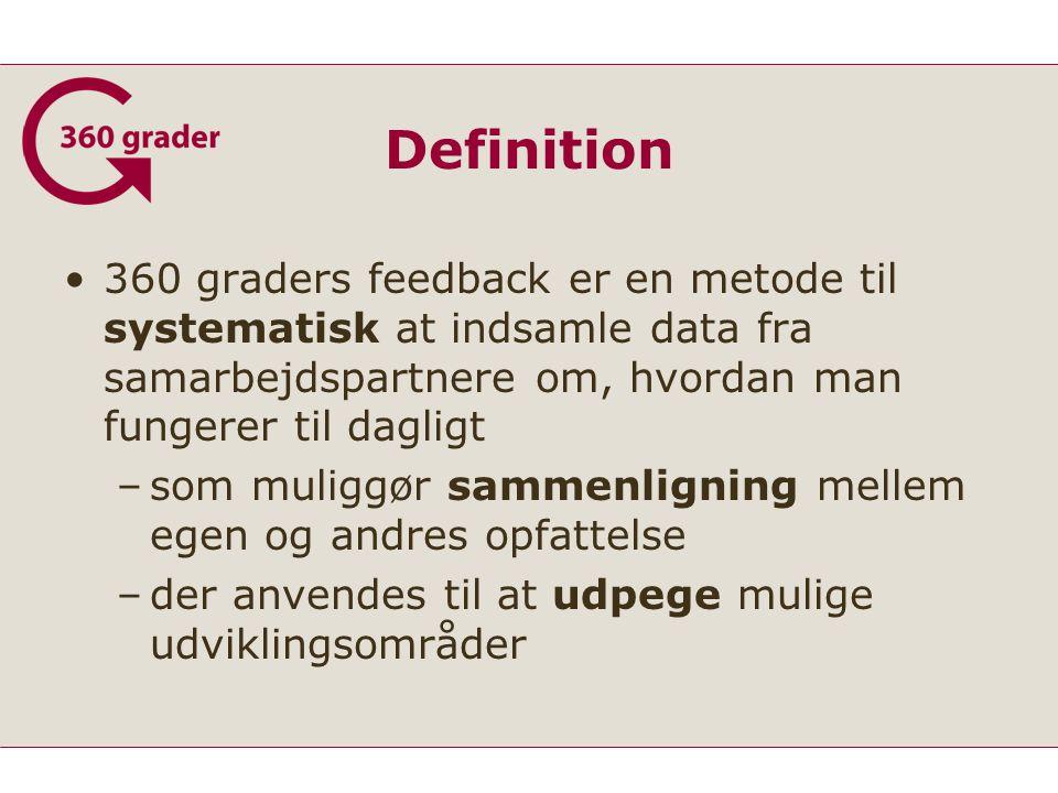 Definition 360 graders feedback er en metode til systematisk at indsamle data fra samarbejdspartnere om, hvordan man fungerer til dagligt.