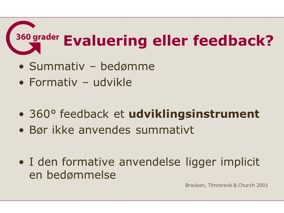 Evaluering eller feedback