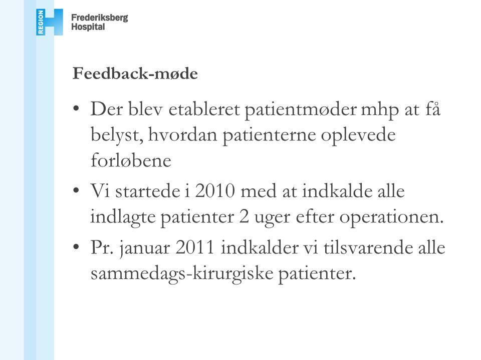 Feedback-møde Der blev etableret patientmøder mhp at få belyst, hvordan patienterne oplevede forløbene.