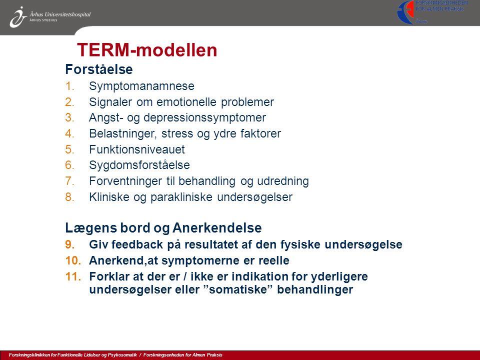 TERM-modellen Forståelse Lægens bord og Anerkendelse Symptomanamnese