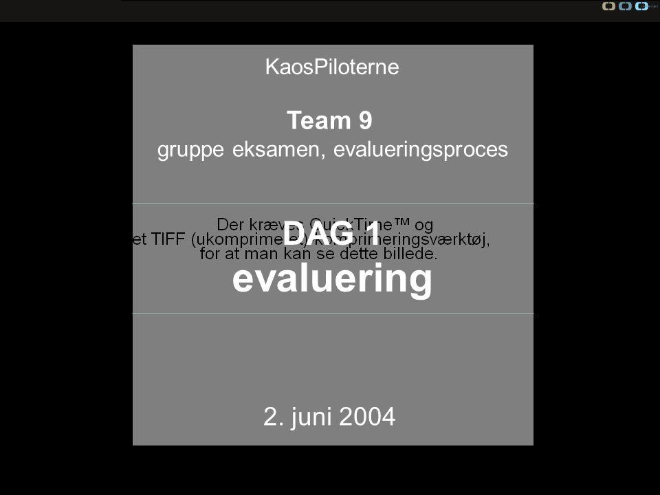 Team 9 gruppe eksamen, evalueringsproces