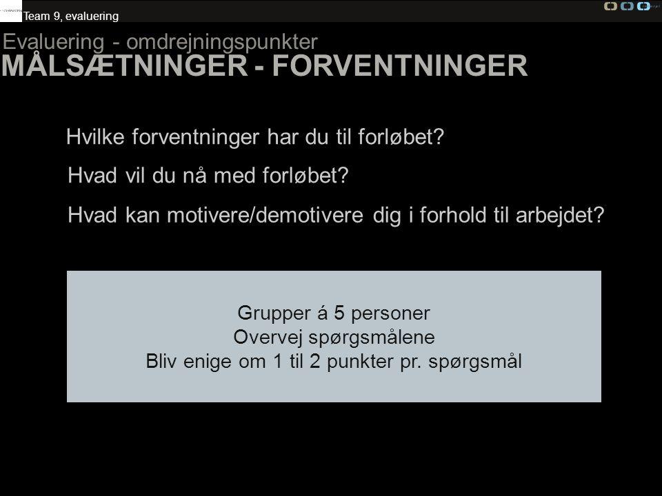 MÅLSÆTNINGER - FORVENTNINGER