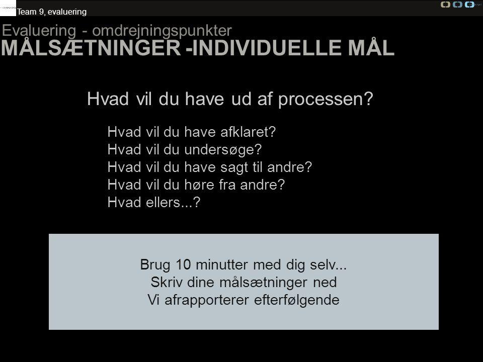 MÅLSÆTNINGER -INDIVIDUELLE MÅL
