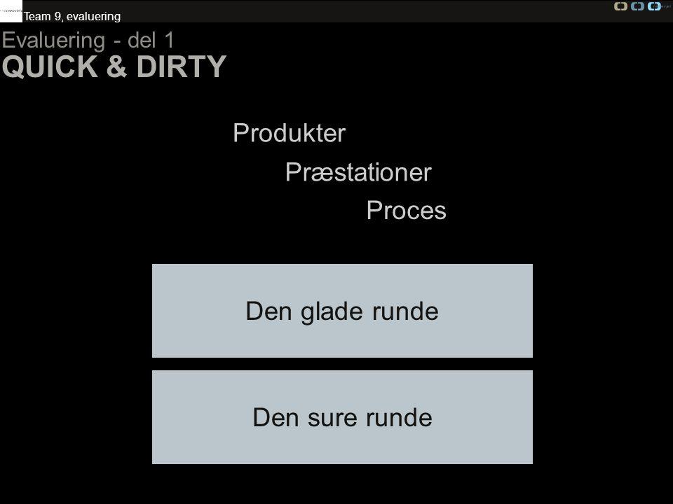 QUICK & DIRTY Produkter Præstationer Proces Den glade runde