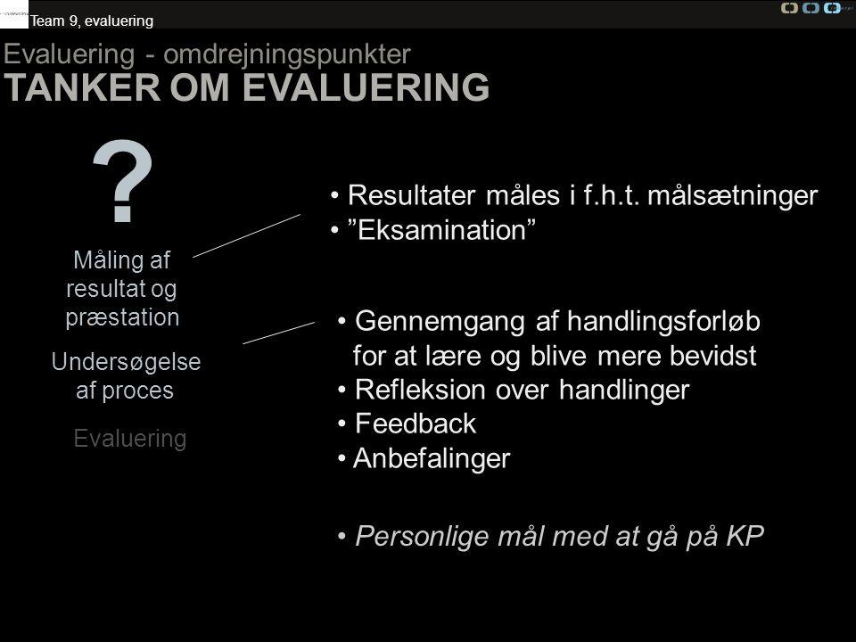 TANKER OM EVALUERING Evaluering - omdrejningspunkter