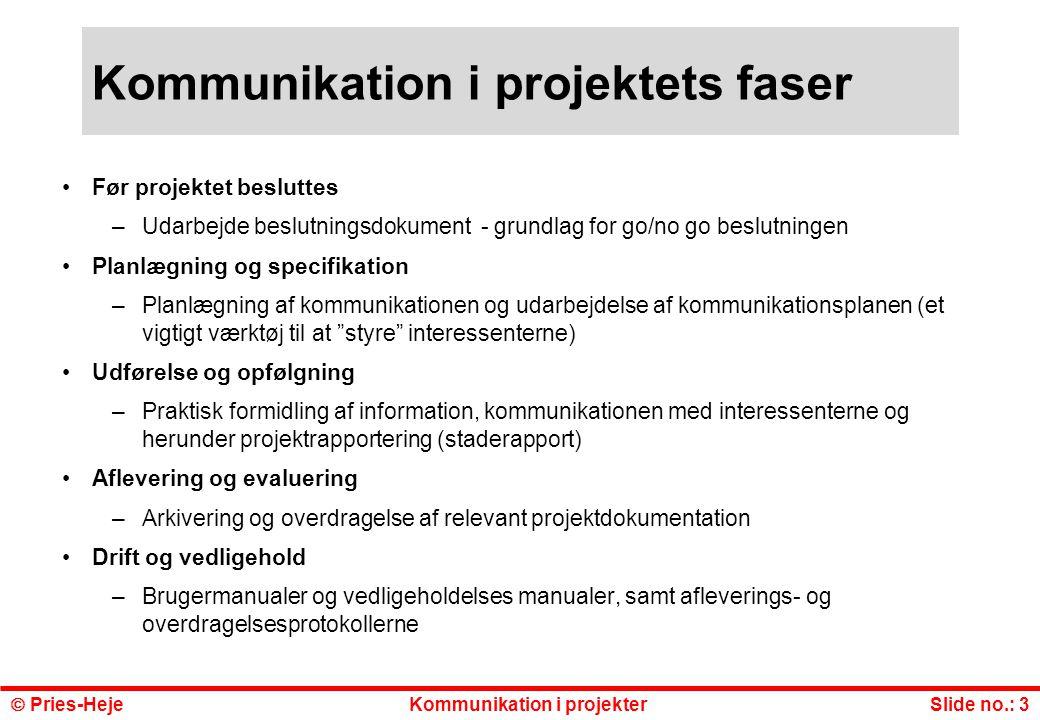 Kommunikation i projektets faser