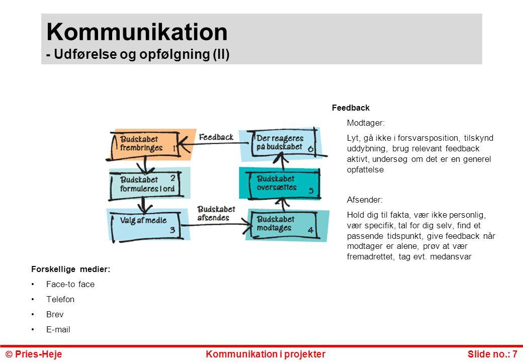 Kommunikation - Udførelse og opfølgning (II)