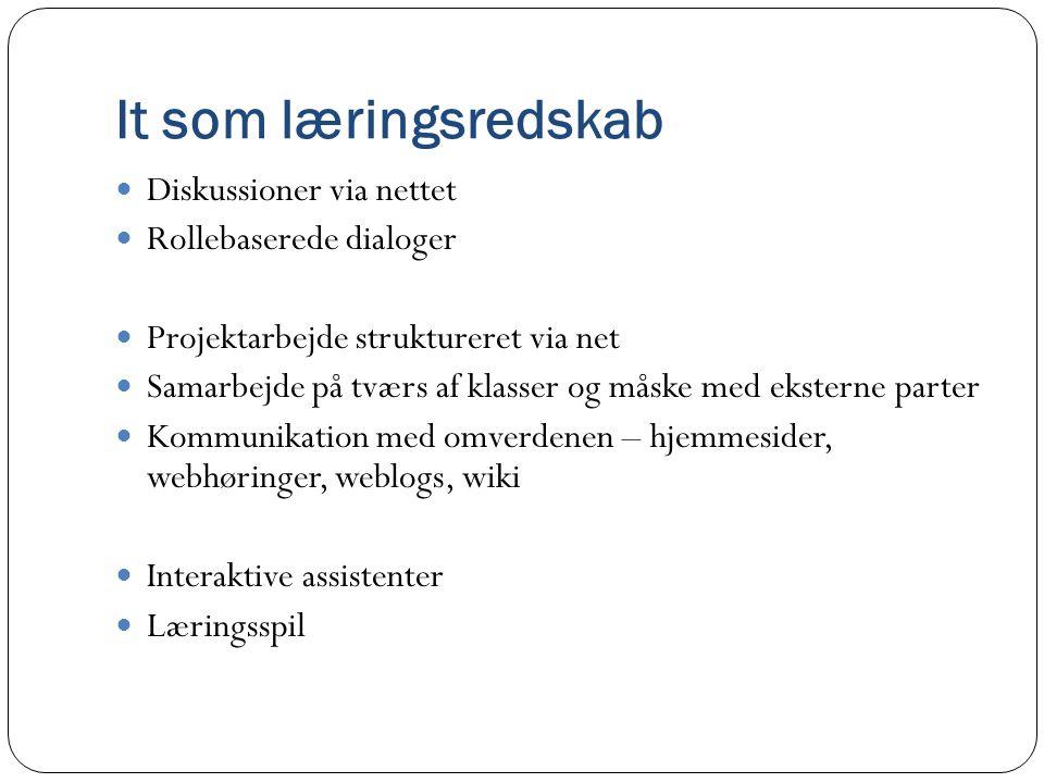 It som læringsredskab Diskussioner via nettet Rollebaserede dialoger