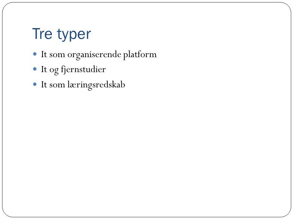Tre typer It som organiserende platform It og fjernstudier
