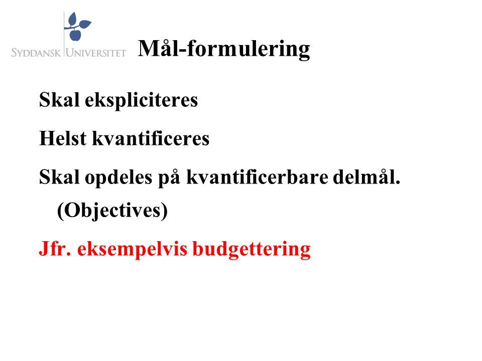 Mål-formulering Skal ekspliciteres Helst kvantificeres